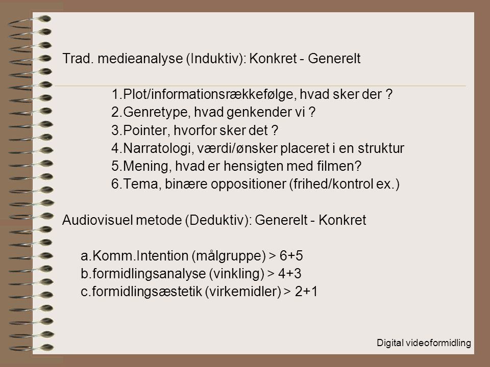 Trad. medieanalyse (Induktiv): Konkret - Generelt