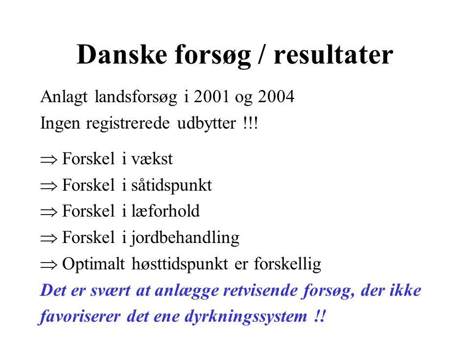 Danske forsøg / resultater