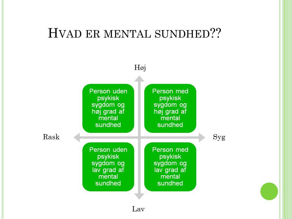 Hvad er mental sundhed Høj Rask Syg Lav