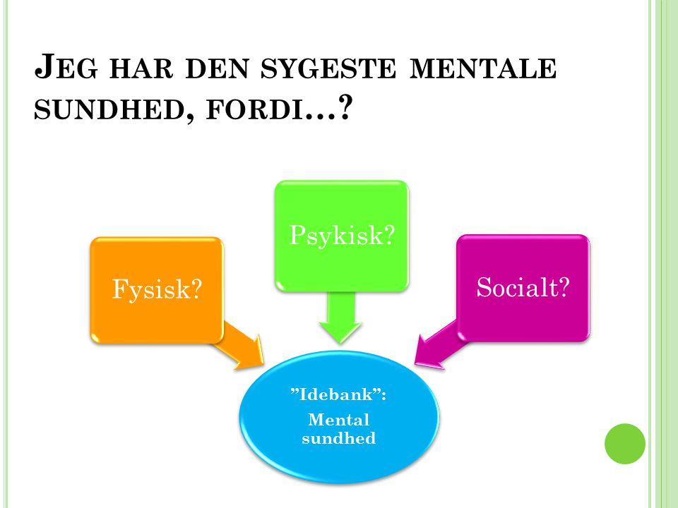 Jeg har den sygeste mentale sundhed, fordi…