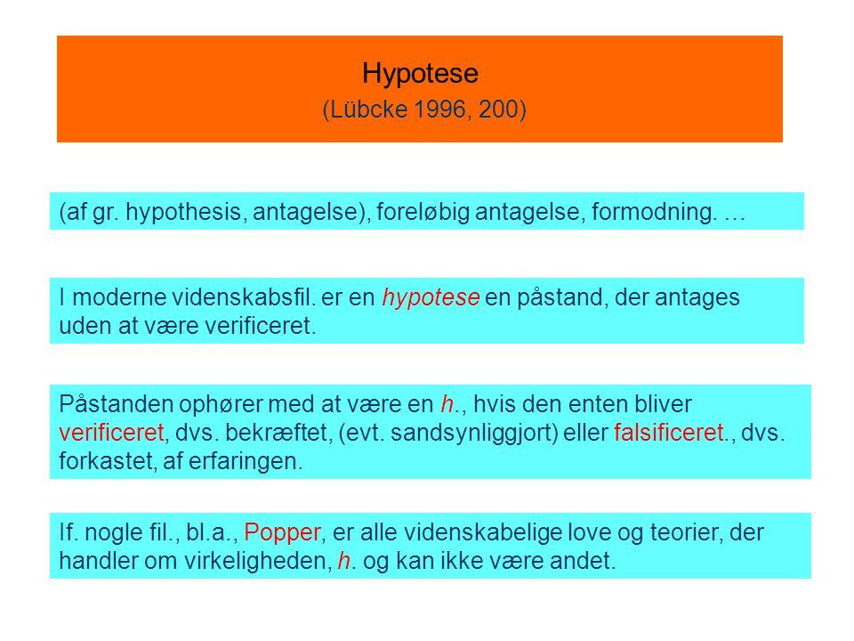Hypotese (Lübcke 1996, 200) (af gr. hypothesis, antagelse), foreløbig antagelse, formodning. …