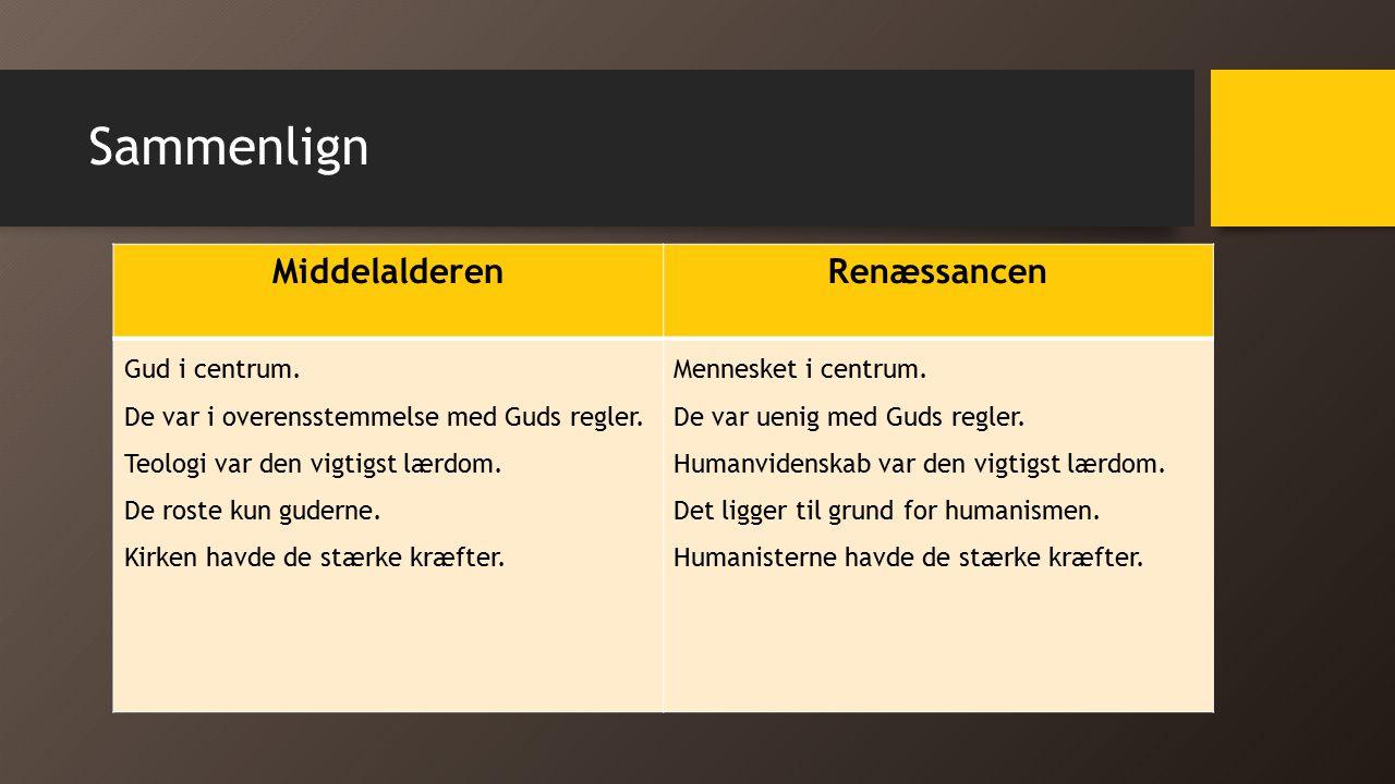 Sammenlign Middelalderen Renæssancen Gud i centrum.