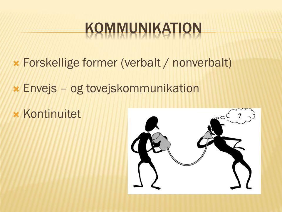 kommunikation Forskellige former (verbalt / nonverbalt)
