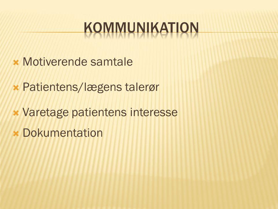 Kommunikation Motiverende samtale Patientens/lægens talerør