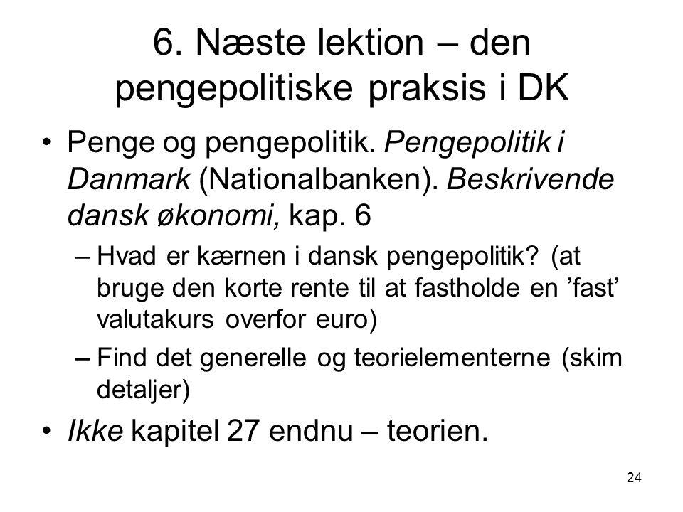 6. Næste lektion – den pengepolitiske praksis i DK