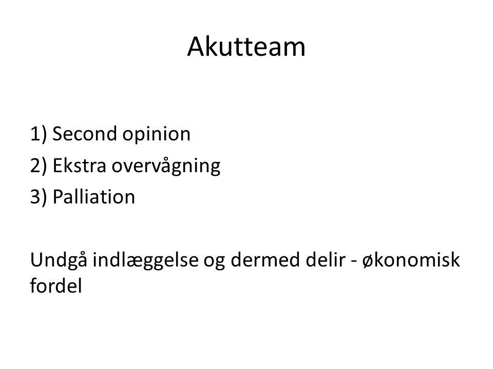 Akutteam 1) Second opinion 2) Ekstra overvågning 3) Palliation Undgå indlæggelse og dermed delir - økonomisk fordel