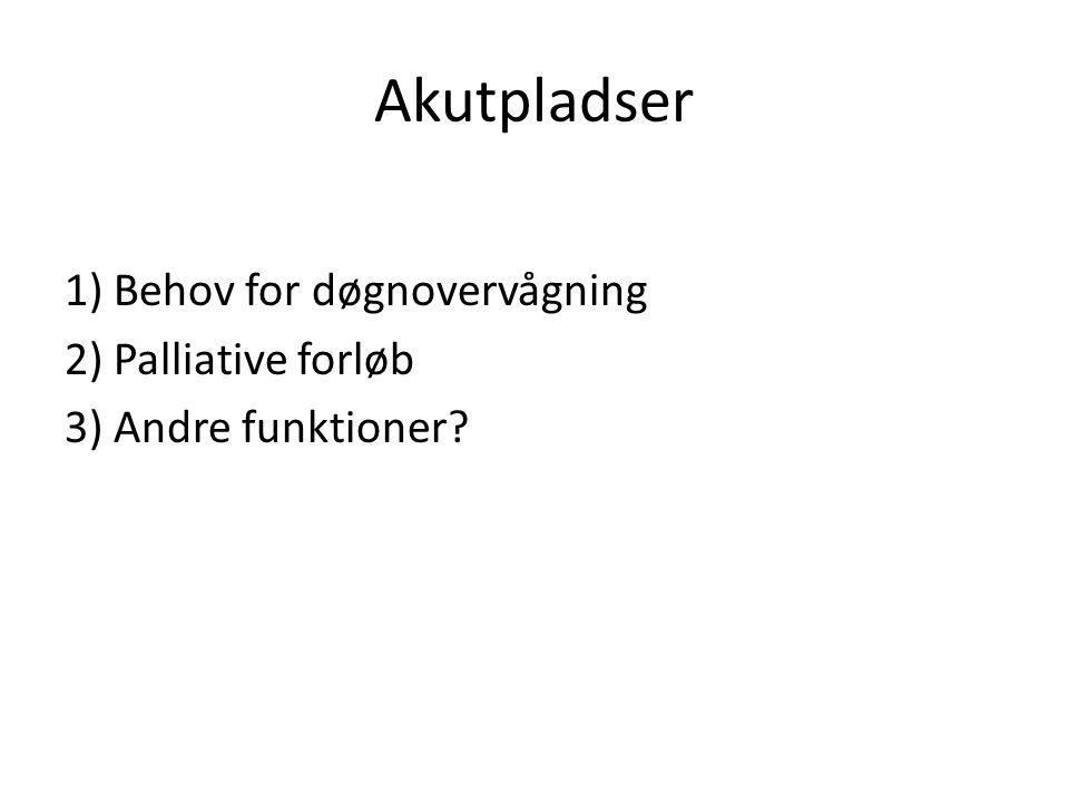 Akutpladser 1) Behov for døgnovervågning 2) Palliative forløb