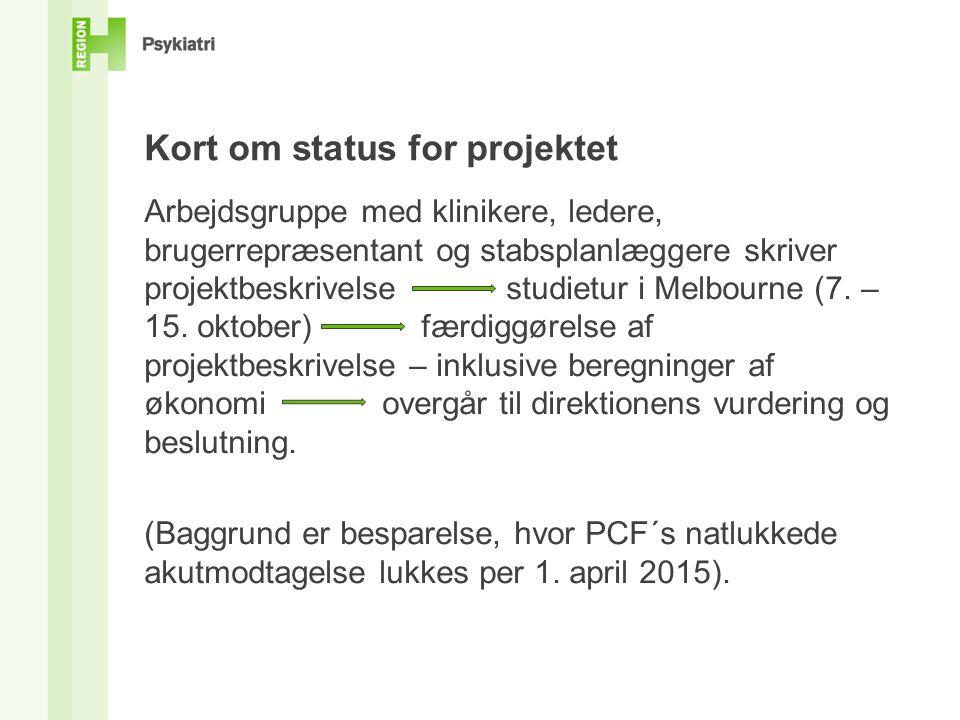 Kort om status for projektet