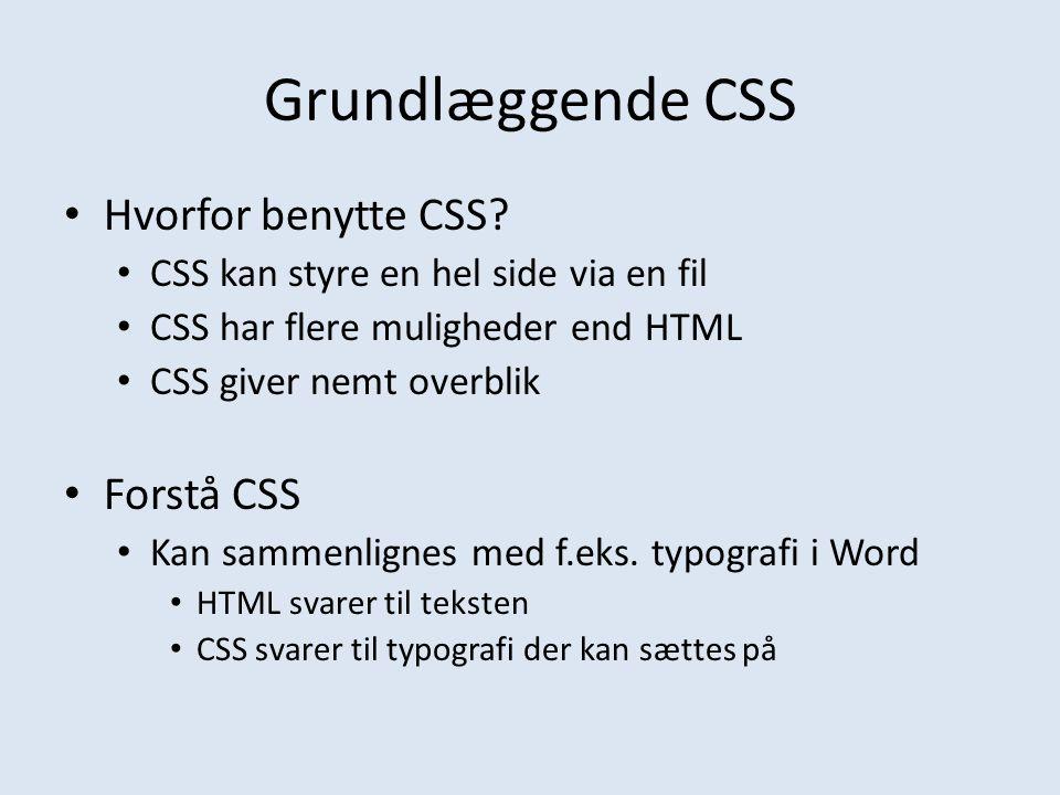 Grundlæggende CSS Hvorfor benytte CSS Forstå CSS