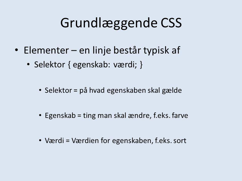 Grundlæggende CSS Elementer – en linje består typisk af