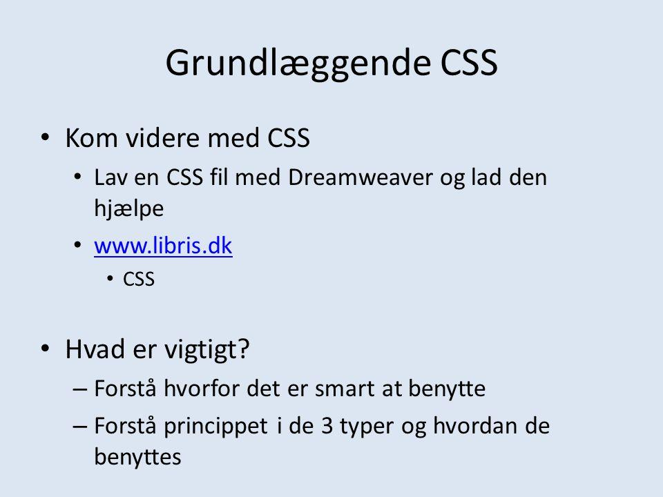 Grundlæggende CSS Kom videre med CSS Hvad er vigtigt