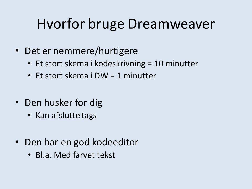 Hvorfor bruge Dreamweaver
