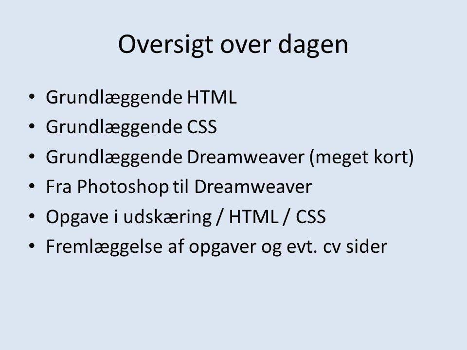 Oversigt over dagen Grundlæggende HTML Grundlæggende CSS