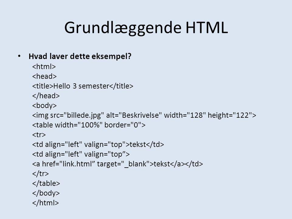Grundlæggende HTML Hvad laver dette eksempel <html>