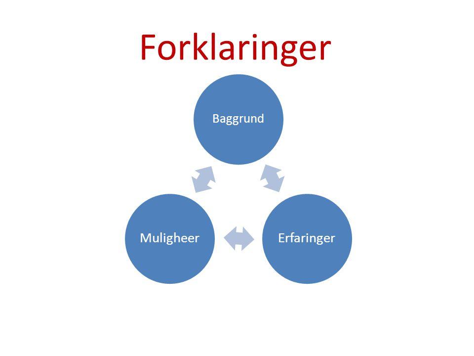 Forklaringer Baggrund Erfaringer Muligheer