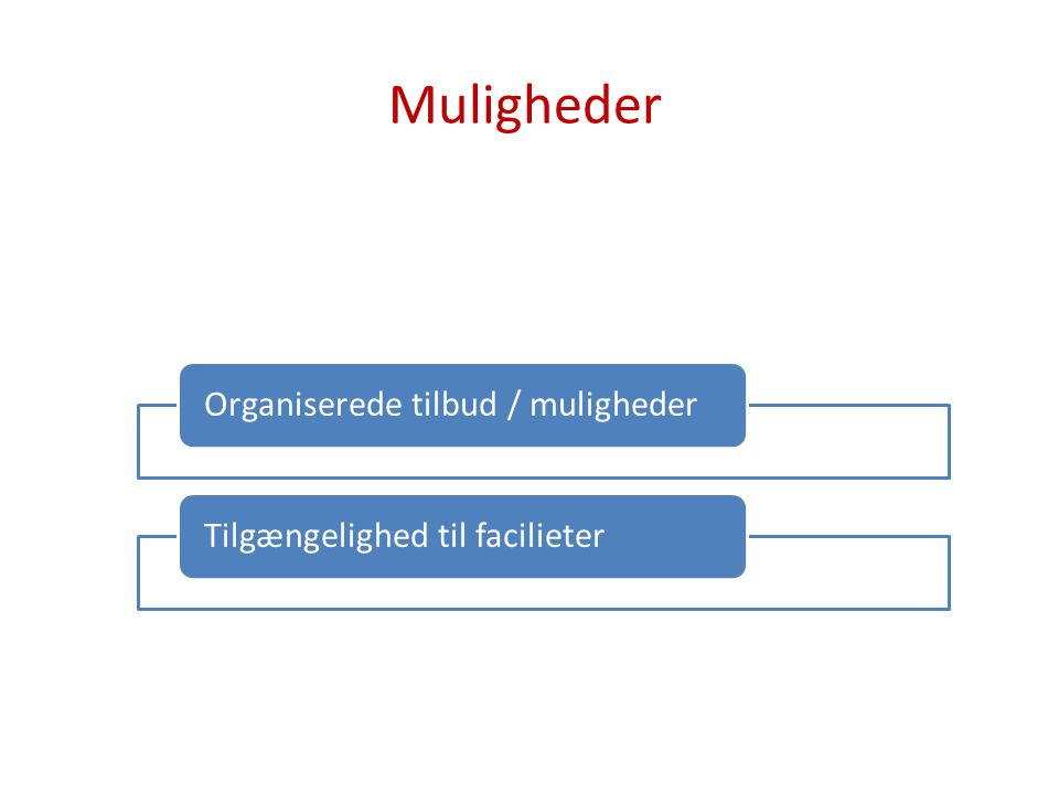 Muligheder Organiserede tilbud / muligheder