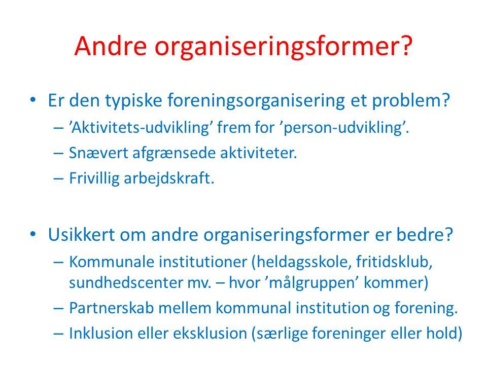 Andre organiseringsformer