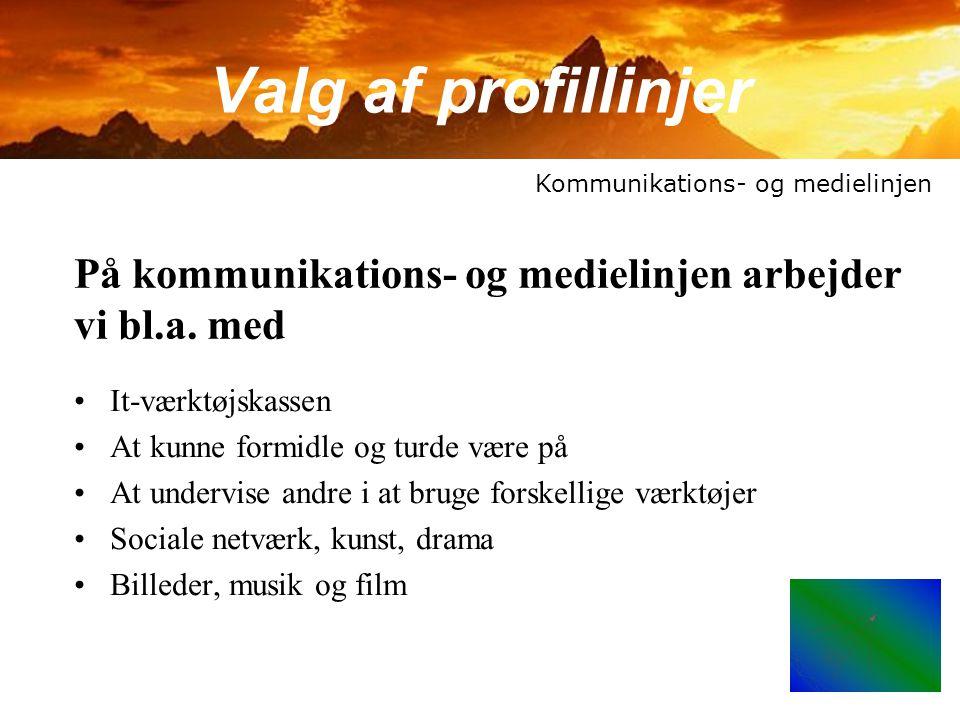 Valg af profillinjer Kommunikations- og medielinjen. På kommunikations- og medielinjen arbejder vi bl.a. med.