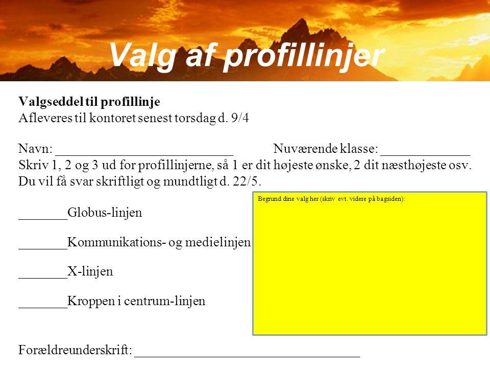 Valg af profillinjer Valgseddel til profillinje