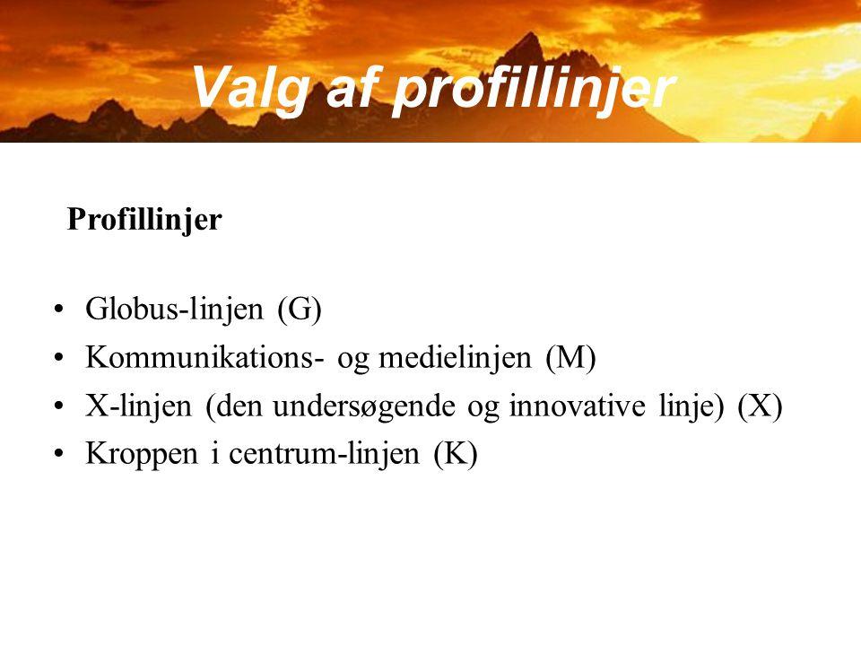 Valg af profillinjer Profillinjer Globus-linjen (G)