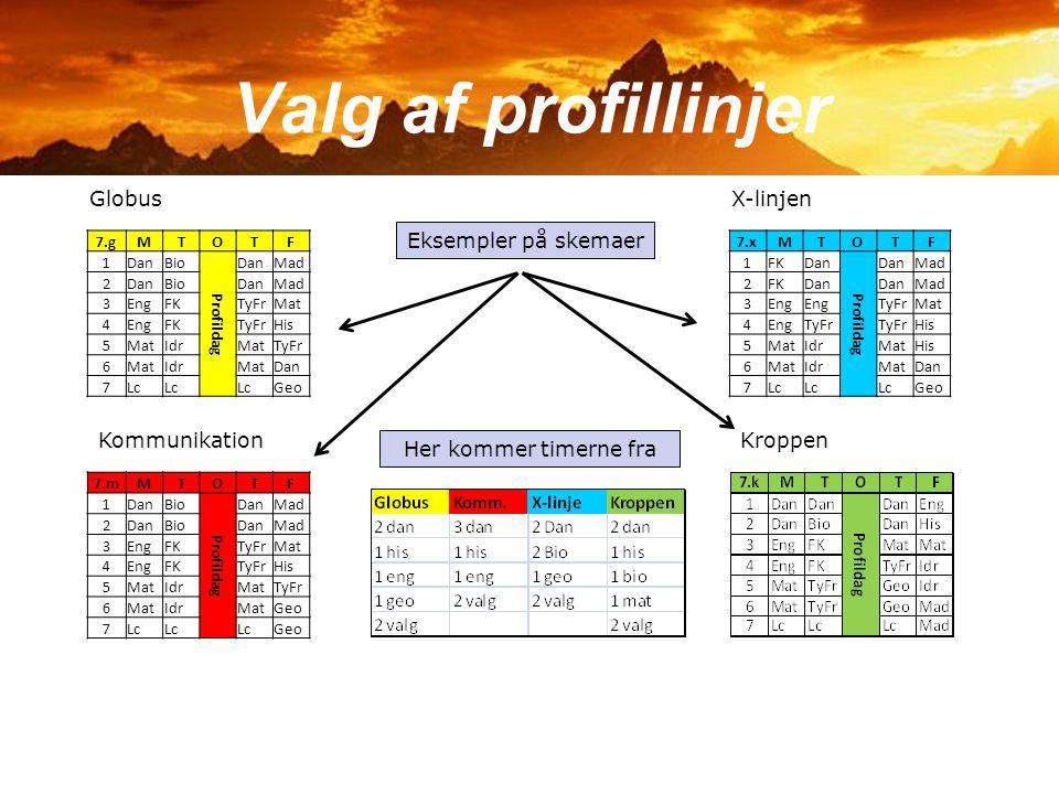 Valg af profillinjer Globus X-linjen Eksempler på skemaer