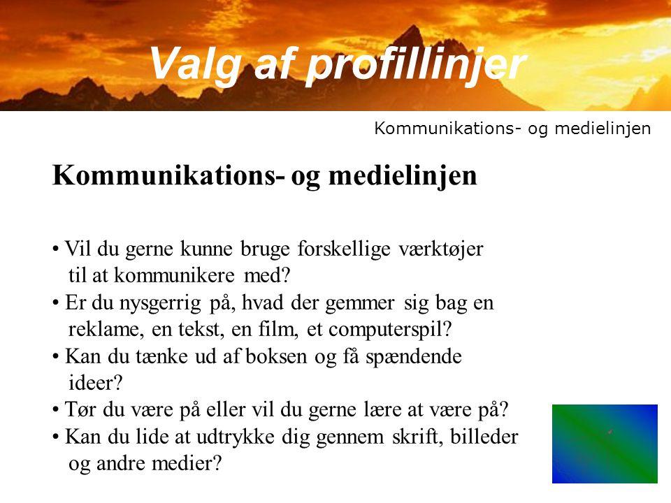 Valg af profillinjer Kommunikations- og medielinjen