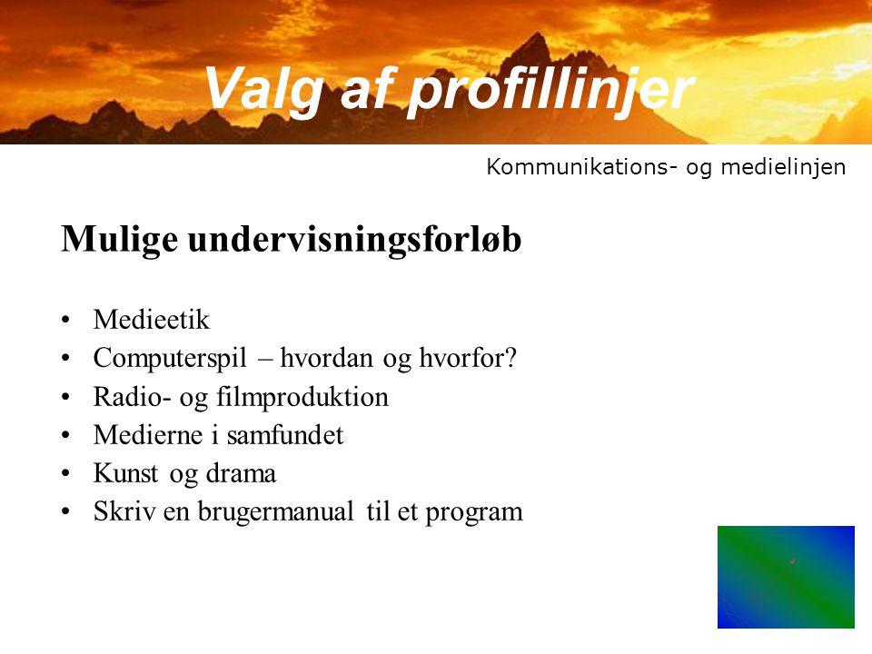 Valg af profillinjer Mulige undervisningsforløb Medieetik