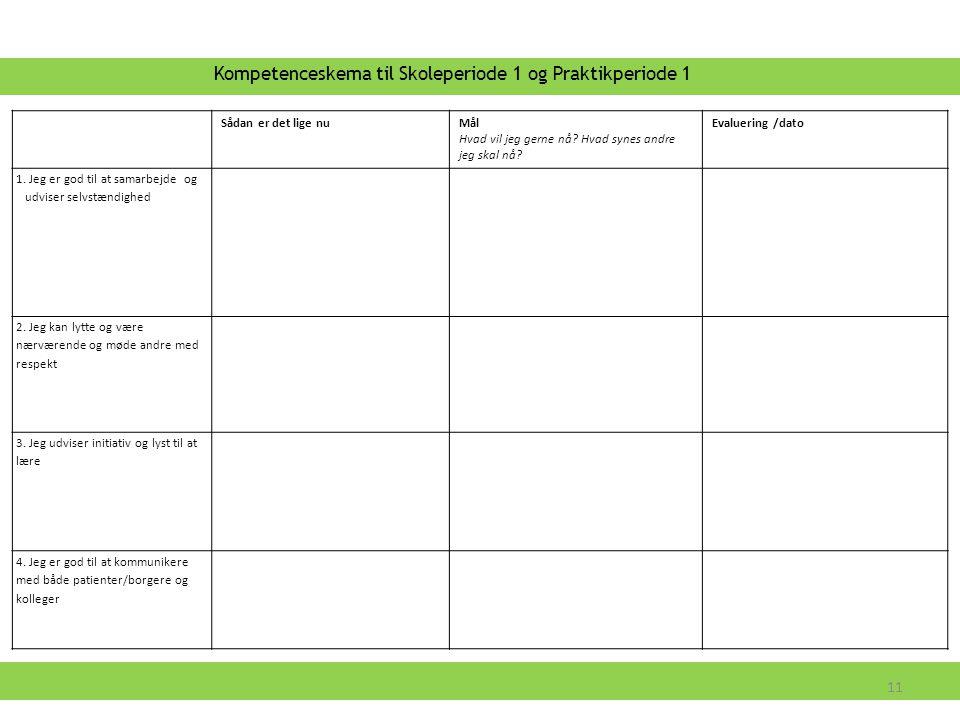Kompetenceskema til Skoleperiode 1 og Praktikperiode 1