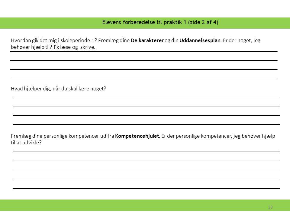 Elevens forberedelse til praktik 1 (side 2 af 4)