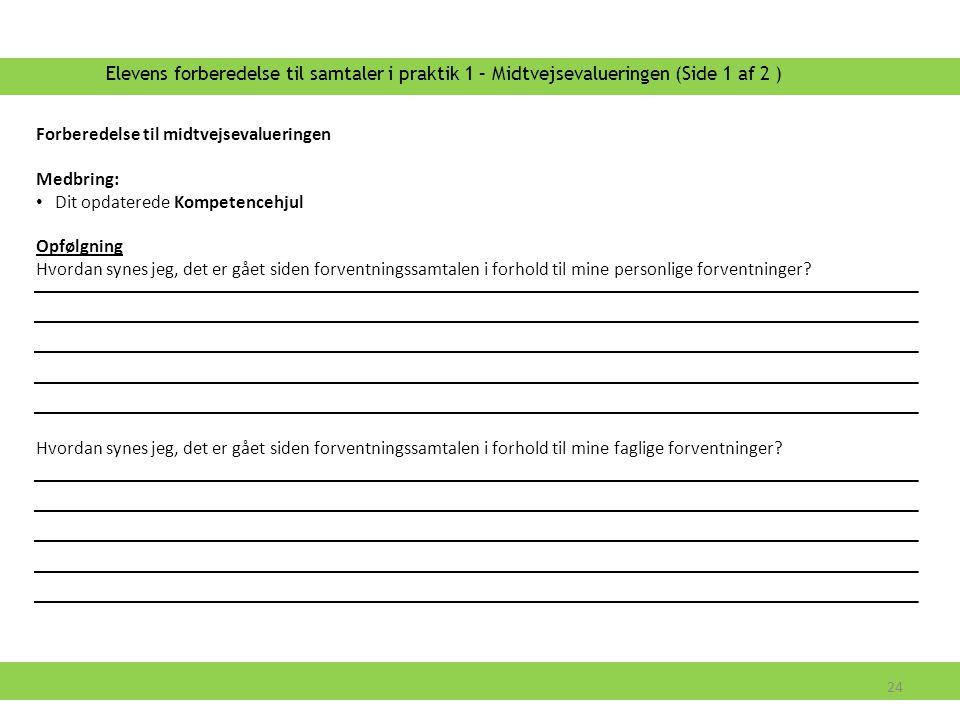 Elevens forberedelse til samtaler i praktik 1 – Midtvejsevalueringen (Side 1 af 2 )