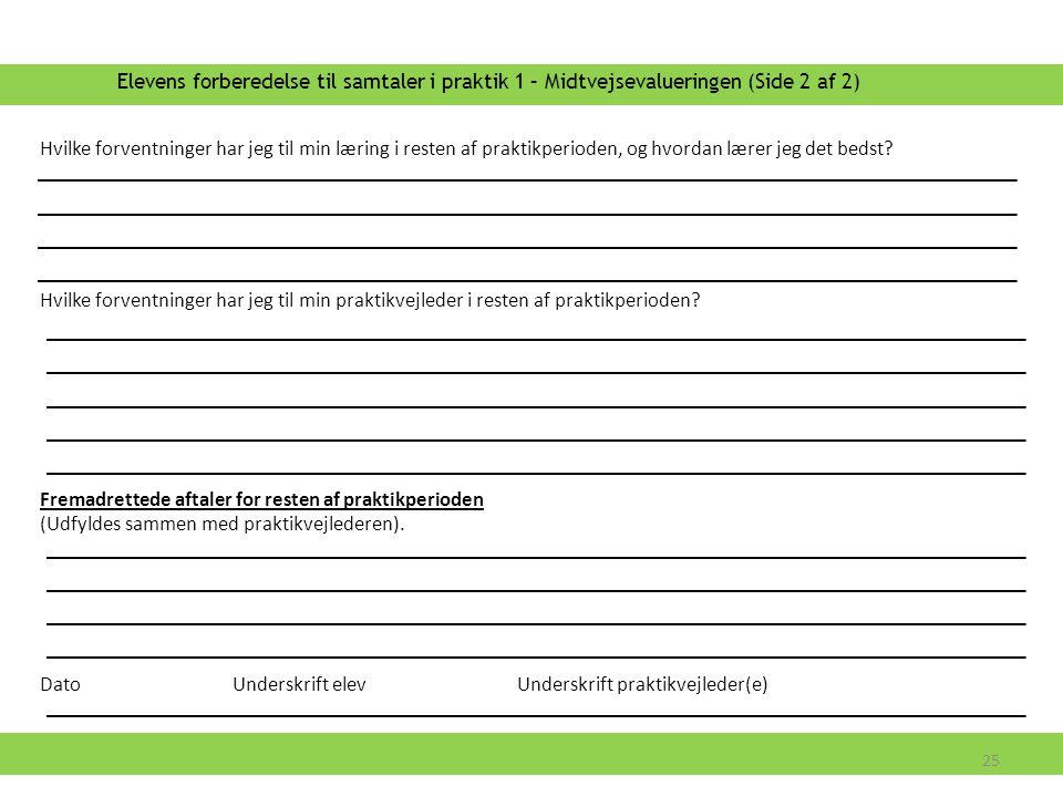 Elevens forberedelse til samtaler i praktik 1 – Midtvejsevalueringen (Side 2 af 2)