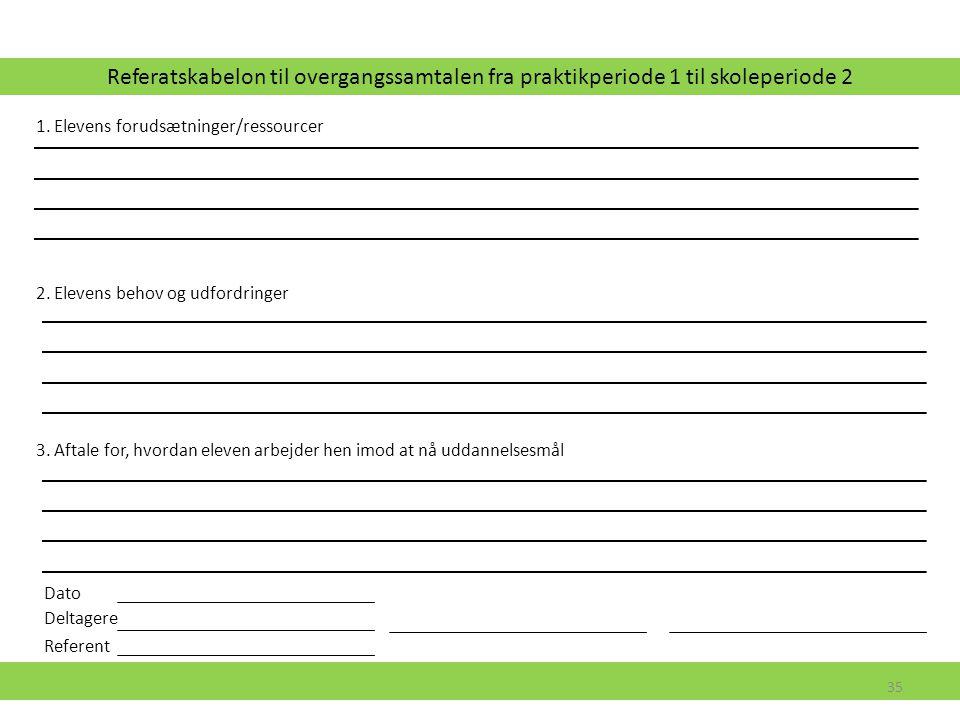 Referatskabelon til overgangssamtalen fra praktikperiode 1 til skoleperiode 2