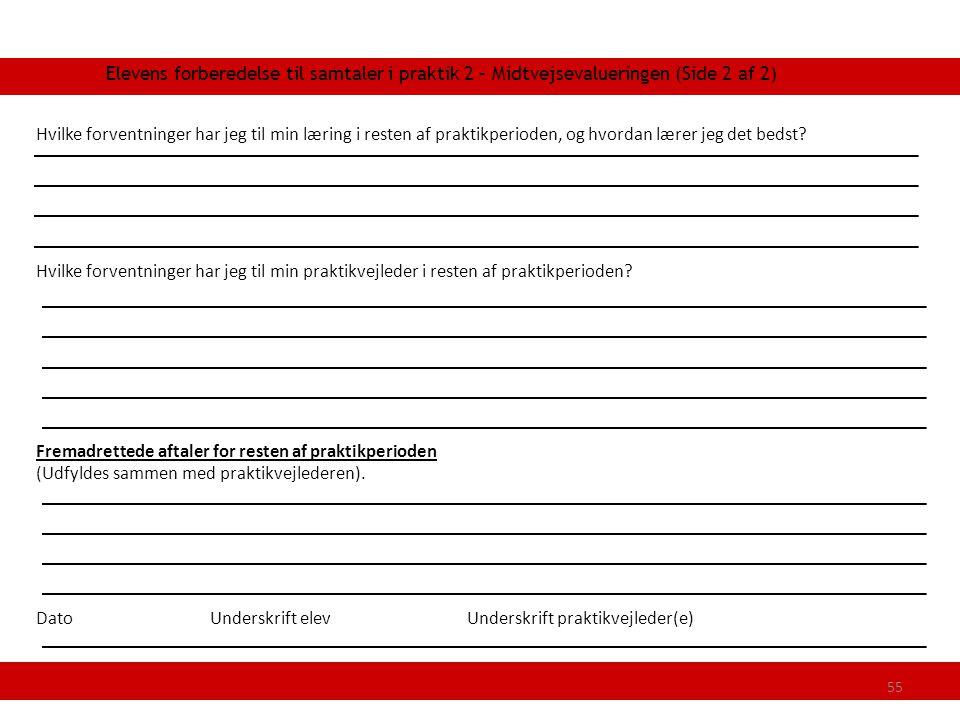 Elevens forberedelse til samtaler i praktik 2 – Midtvejsevalueringen (Side 2 af 2)
