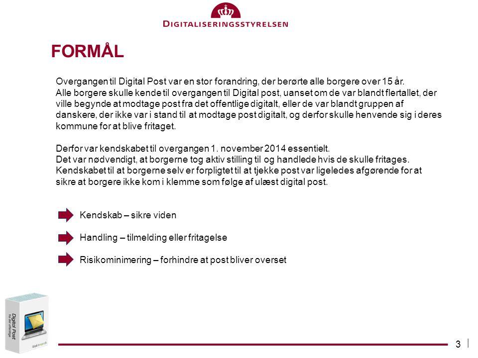 Formål Overgangen til Digital Post var en stor forandring, der berørte alle borgere over 15 år.