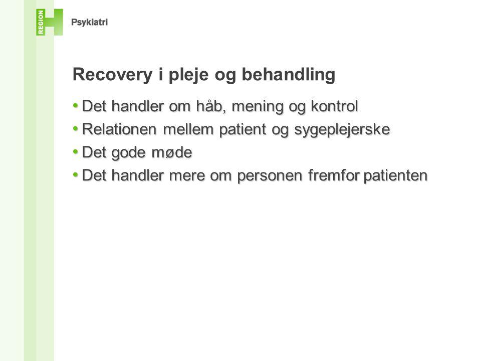 Recovery i pleje og behandling