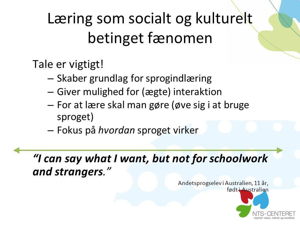 Læring som socialt og kulturelt betinget fænomen