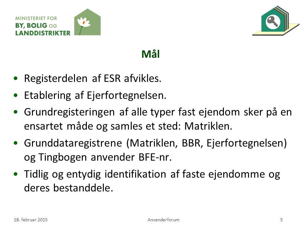 Registerdelen af ESR afvikles. Etablering af Ejerfortegnelsen.