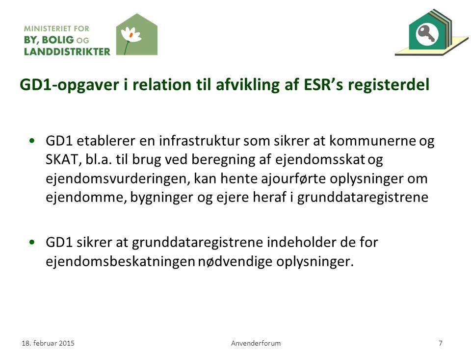 GD1-opgaver i relation til afvikling af ESR's registerdel