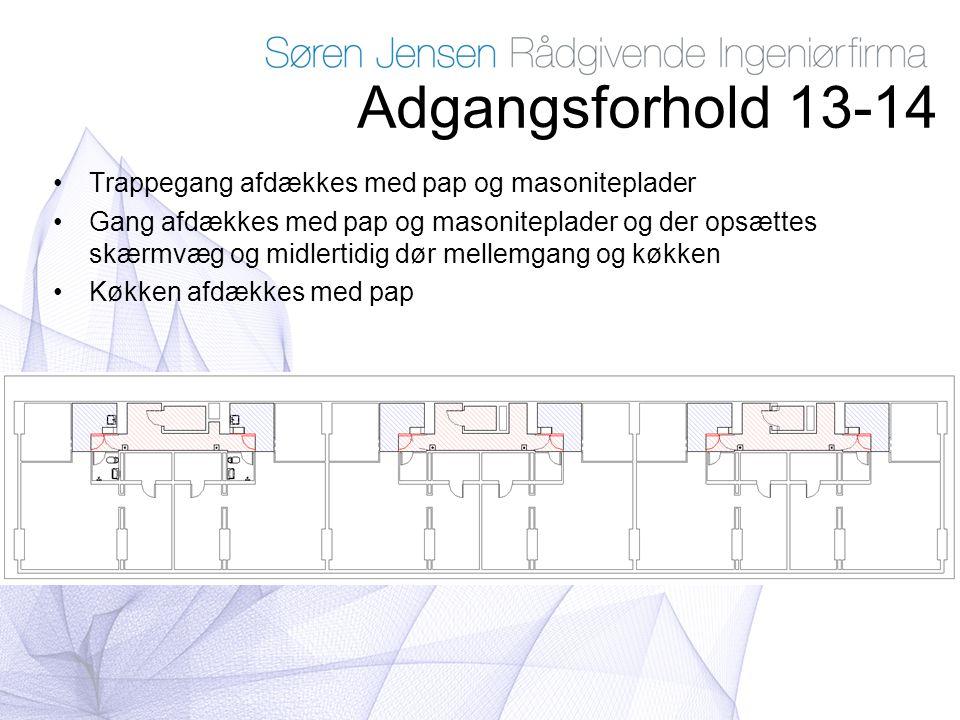 Adgangsforhold 13-14 Trappegang afdækkes med pap og masoniteplader