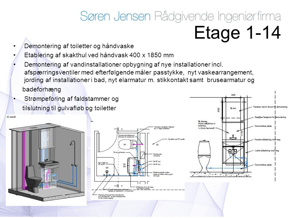 Etage 1-14 Demontering af toiletter og håndvaske