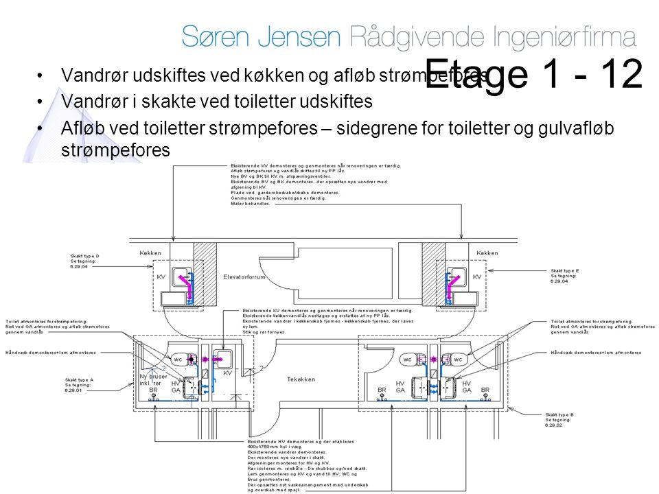 Etage 1 - 12 Vandrør udskiftes ved køkken og afløb strømpefores