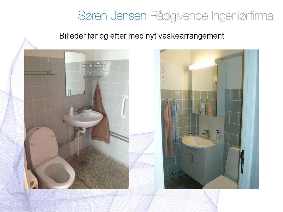 Billeder før og efter med nyt vaskearrangement