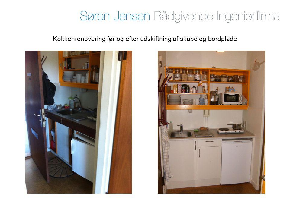 Køkkenrenovering før og efter udskiftning af skabe og bordplade