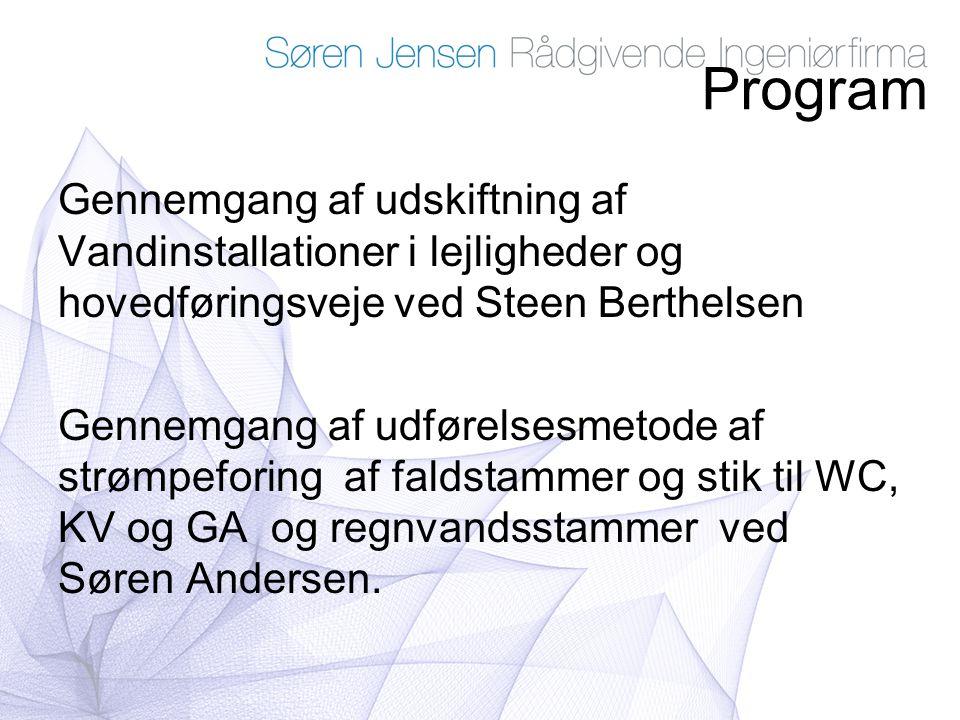 Program Gennemgang af udskiftning af Vandinstallationer i lejligheder og hovedføringsveje ved Steen Berthelsen.