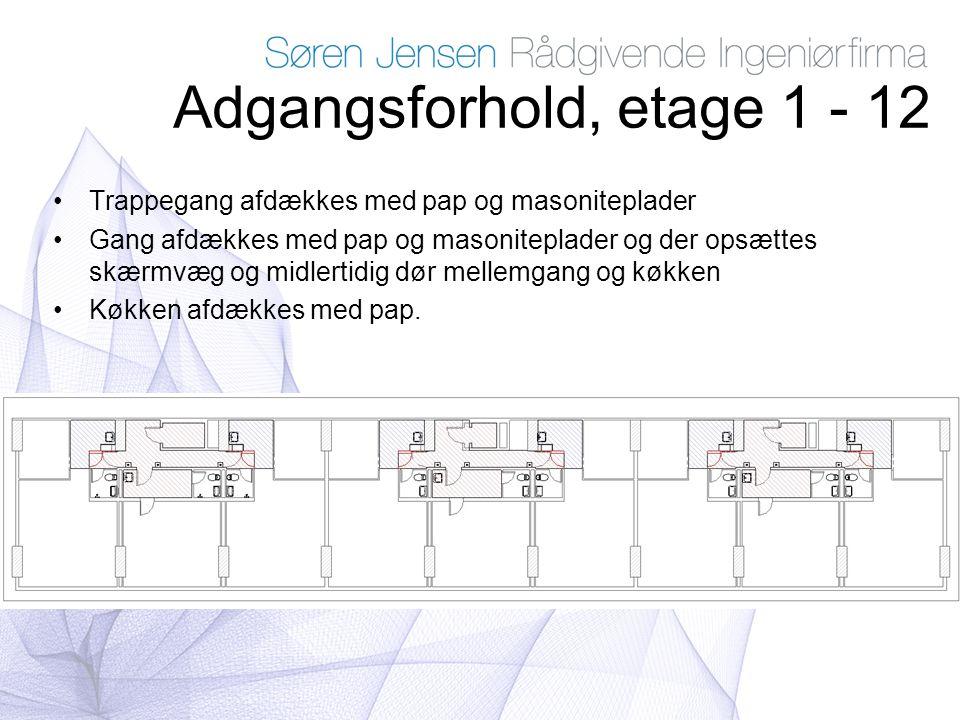 Adgangsforhold, etage 1 - 12