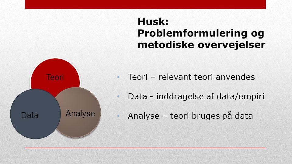 Husk: Problemformulering og metodiske overvejelser