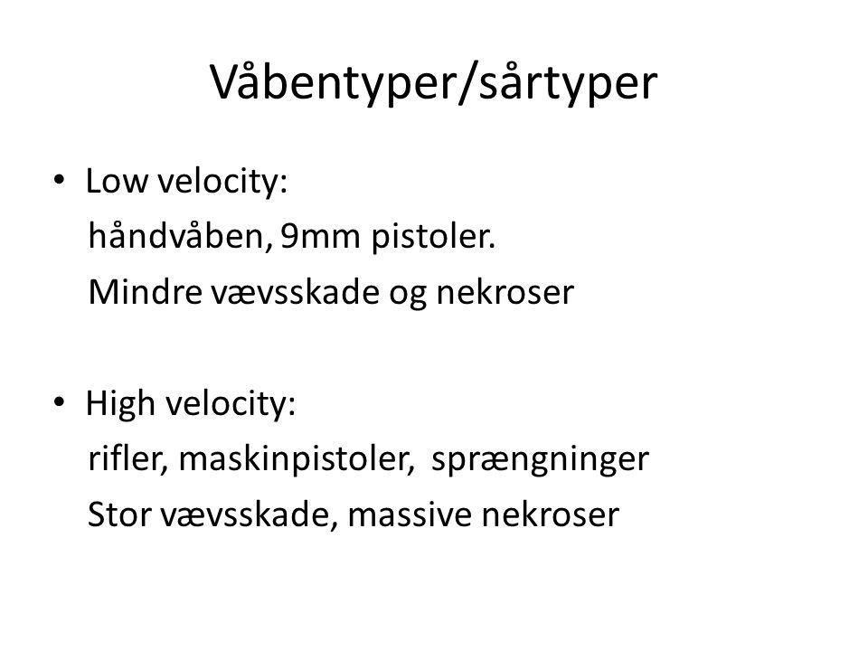 Våbentyper/sårtyper Low velocity: håndvåben, 9mm pistoler.