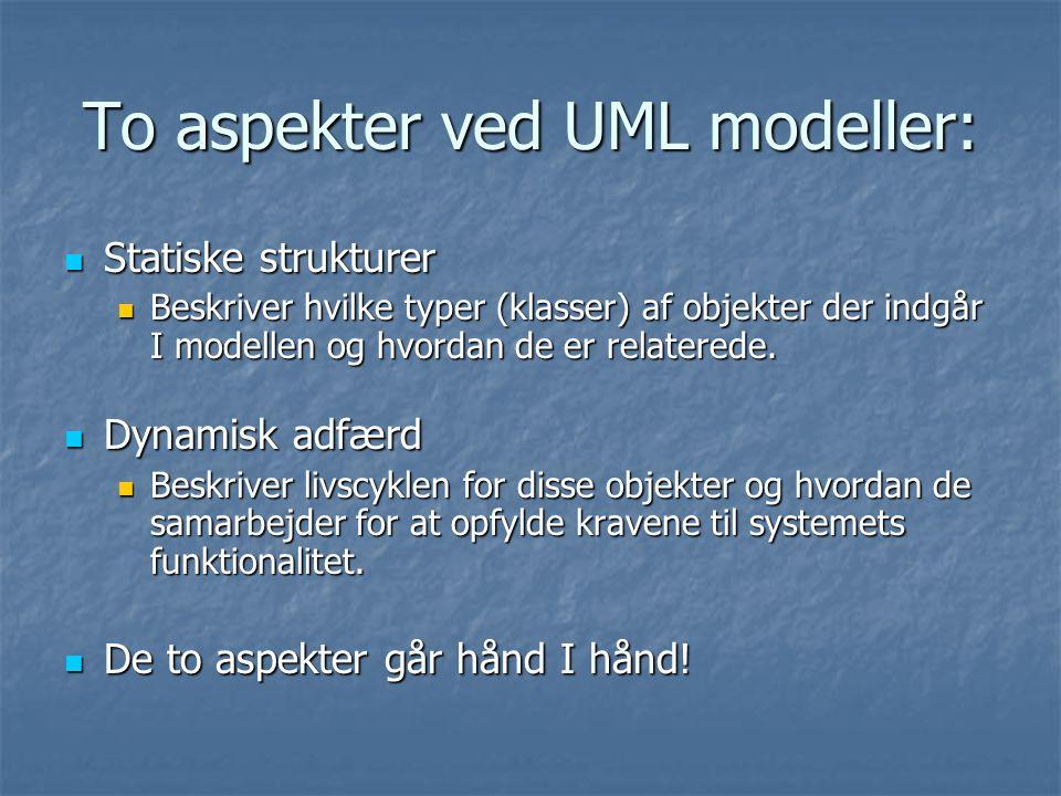 To aspekter ved UML modeller: