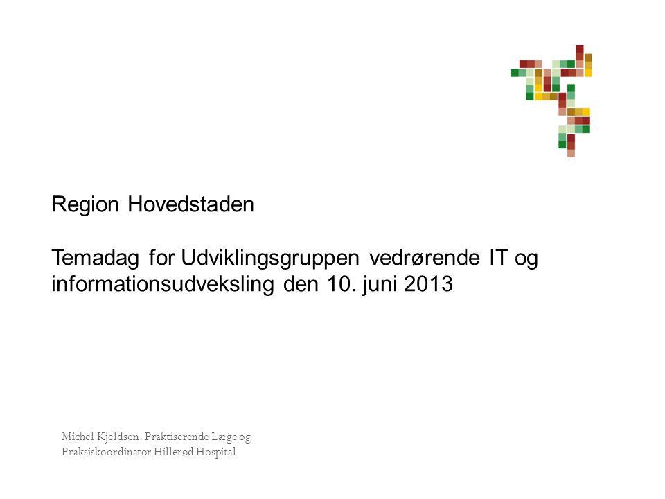 Region Hovedstaden Temadag for Udviklingsgruppen vedrørende IT og informationsudveksling den 10. juni 2013.