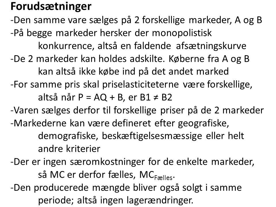 Forudsætninger -Den samme vare sælges på 2 forskellige markeder, A og B. -På begge markeder hersker der monopolistisk.